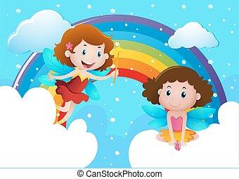 carino, arcobaleno, sopra, volare, fate, due