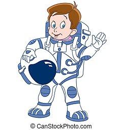carino, astronauta, cartone animato, ragazzo