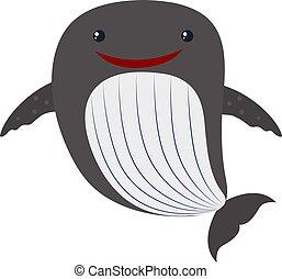 carino, balena, illustrazione, bianco, vettore, fondo.