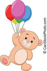 carino, balloon, cartone animato, orso