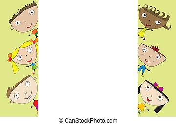 carino, bambini, bandiera, cartone animato