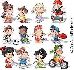 carino, bambini, cartone animato, gioco