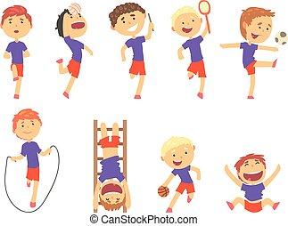 carino, bambini, colorito, set., sport, ragazzi, attività, illustrazioni, gioco, cartone animato, felice
