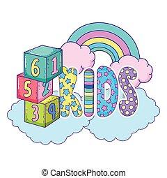 carino, bambini, parola, arcobaleno