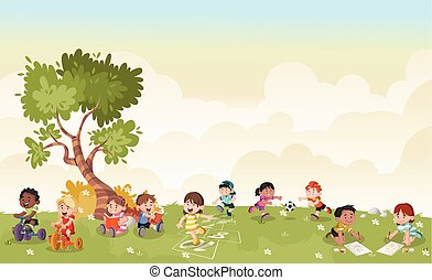 carino, bambini, playing., erba verde, cartone animato, paesaggio