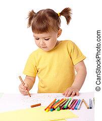 carino, bambino, penne, disegnare, felt-tip
