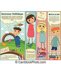 carino, bandiere, bambini, verticale