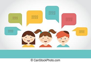 carino, bolle, bambini, discorso