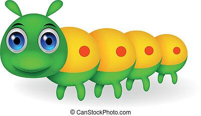 carino, bruco, verde, cartone animato