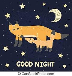 carino, buono, notte, -, volpi, stampa, madre, bambino, super