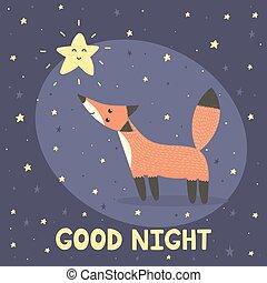 carino, buono, stella, volpe, notte, scheda