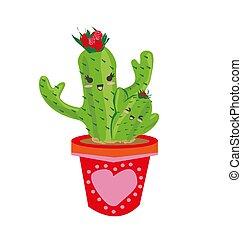 carino, cactus, -, cartone animato, famiglia