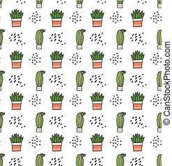 carino, cactus, tessuto, fondo, stampa, suitable, cartone animato