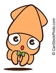 carino, calamaro, mascotte, isolated., cartone animato, character., bowtie, vettore