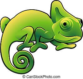 carino, camaleonte, illustrazione, vettore