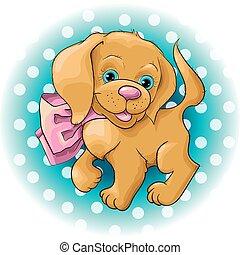 carino, cane, illustrazione, spaniel