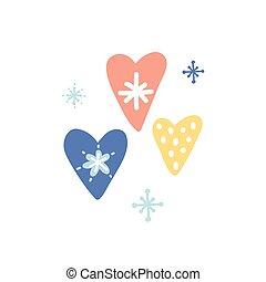 carino, capretto, carta da parati, mano, cartone animato, color., bello, cuore, icona, sticker., unico, pianificatore, cuori, quotidiano, natale, disegnato, pastello, involucro, snowflakes., vettore, vivaio, apparel., illustrazione, hearts.