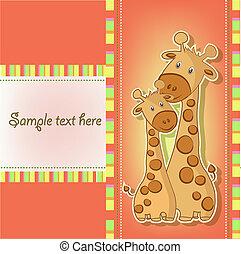 carino, cartoline, giraffa