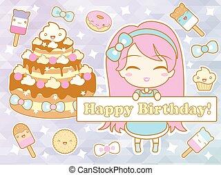 carino, cartone animato, compleanno, chibi, ragazza sorridente, scheda, felice
