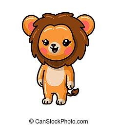 carino, cartone animato, leone, poco, standing