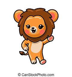 carino, cartone animato, leone, presentare, poco