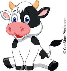 carino, cartone animato, mucca, seduta