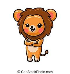 carino, cartone animato, proposta, leone, poco