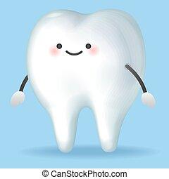 carino, cartone animato, pulito, denti