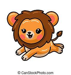 carino, cartone animato, saltare, leone, poco