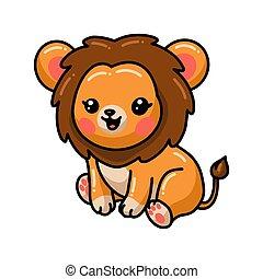 carino, cartone animato, seduta, leone, poco
