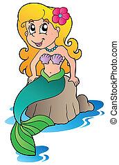 carino, cartone animato, sirena