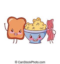carino, cereale, bread, colazione, cartone animato, pancetta affumicata
