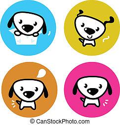 carino, colorito, cane, isolato, bottoni, bianco