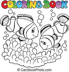 carino, coloritura, due, pagliaccio, libro, pesci