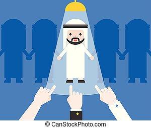 carino, concetto, affari, indicare, candidato, mano, arabo, reclutamento, uomo affari, situazione