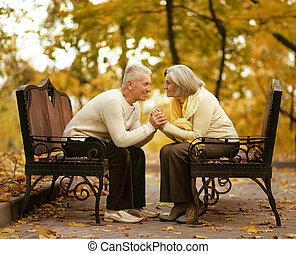 carino, coppia, anziano