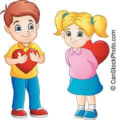 carino, coppia, cartone animato, rosso, cuori