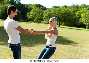 carino, coppia, park., intorno, gioco