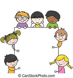 carino, cornice, bambini, cartone animato