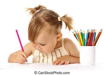 carino, disegnare, bambino, matite