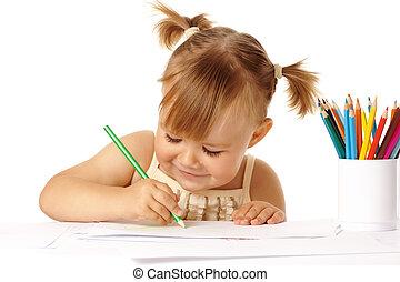 carino, disegnare, matite, colorare, bambino, sorriso