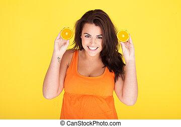 carino, donna, arance, sfacciato, divertimento, detenere