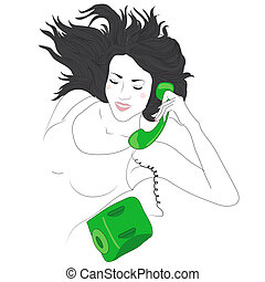 carino, donna felice, giovane, telefono
