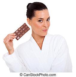 carino, donna, giovane, cioccolato, presa a terra, lastra