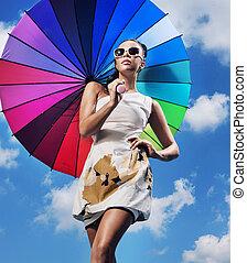 carino, donna, ombrello, giovane, presa a terra