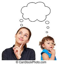 carino, donna, sopra, pensare, giovane, isolato, concetto, fondo, bambino, bianco, bolla