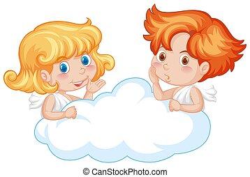 carino, due, nuvola, angeli