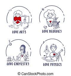 carino, educazione, biologia, kids., fisica, set, chimica, arti