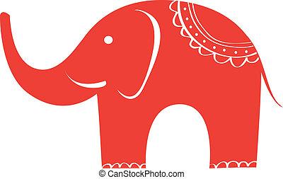 carino, elephant., indiano, character., animale