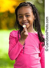 carino, esterno, persone, -, giovane, nero, africano, ritratto, ragazza